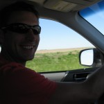 Lucas taking a driving shift on the way to Lawrence