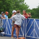 Chatting with Chrissie after the finish