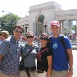 Brian, Susan, Whit, Lucas - at Cycling Challenge tour finish area, Denver