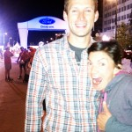 Lucas and I at finish line, midnight