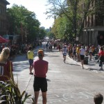 Part of run course, downtown, and spectators