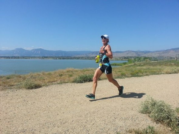 On the gravelly run course - beautiful Boulder background!