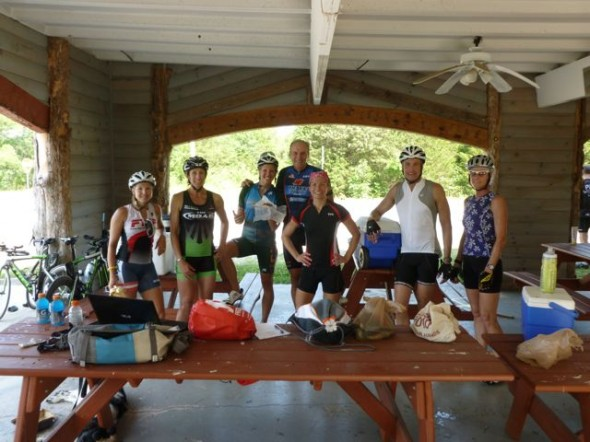 Some of the riders from my group at a rest stop on the bike course