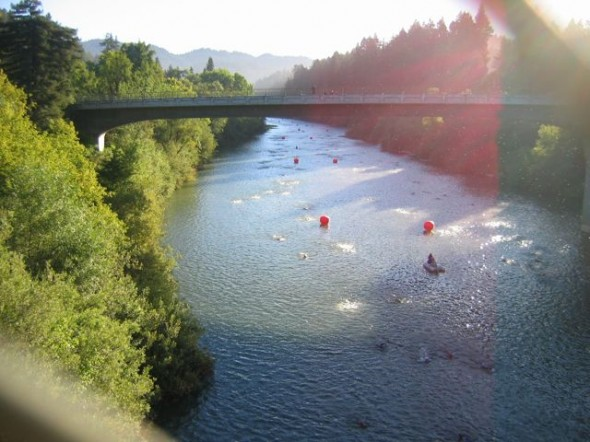 The swim course, in the Russian River, starts and ends at Johnson's Beach in Guerneville