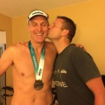 Lucas congratulates his father on yet another Ironman finish, here in Chattanooga!