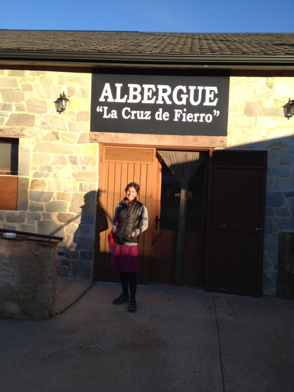 Me in front of the entrance to my albergue in Foncebadon; it was small and did not offer many ammeneties, but had a nice hot shower, and very friendly folks hosting and staying there; I enjoyed my experience.