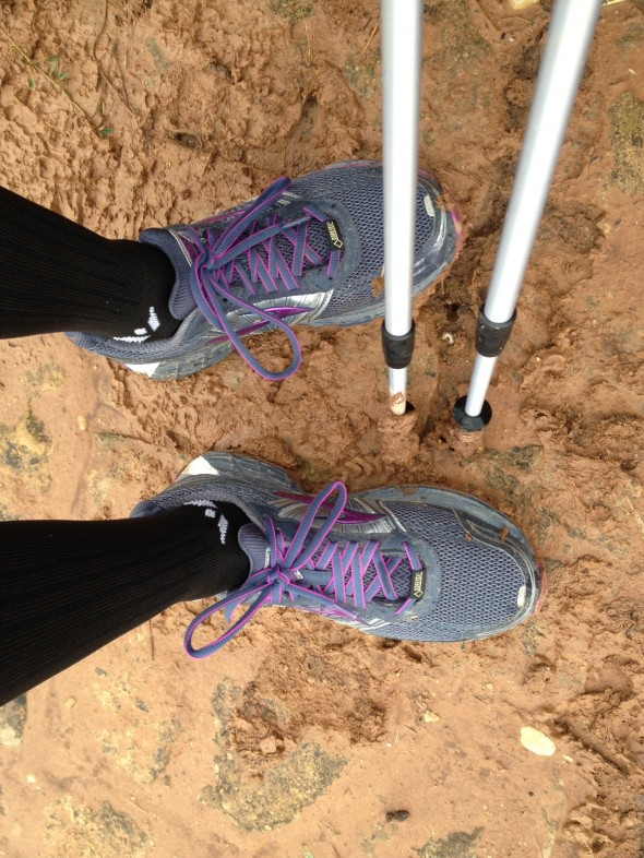 Muddy shoes and poles - not too bad considering how much sticky mud there is when it rains. So far we are very fortunate with the temperate weather.
