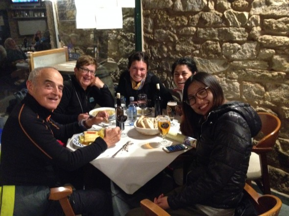 Camino-friends!  From L-R:  Jose & Maria-Jesus from Spain; Whitney; Yadira from Mexico; Yow-Yow from China/Portugal.