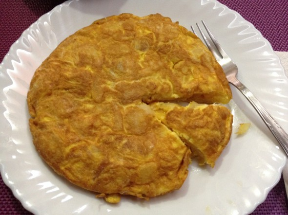 "Spanish ""tortilla"" made of eggs and potatos.  I had this one made for me at a restaurant along the way today.  Filling and delicious."