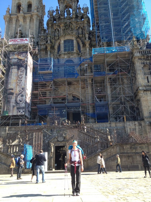 Me in front of the Cathedral in Santiago on Thursday afternoon, just after arriving in the city.  It is undergoing some major reconstruction, which I learned about when visiting the museum the next day.
