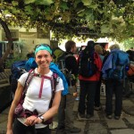 Waiting in line at the Pilgrim's Office in Santiago.  Anyone who has walked at least the last 100km into the city gets a certificate of completion of the Camino.  I feel GREAT having walked here all the way from St. Jean Pied d' Port, France!!