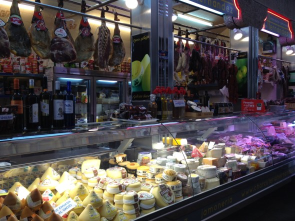 Meats and cheeses in just one of the hundreds of vendor stations in the Mercado de Plaza de Abastos.  I wanted to buy everything!!