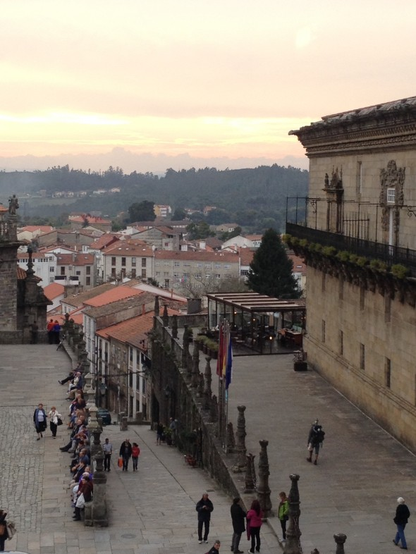 A view from the 2nd floor of the Museo de Catedral, looking out over part of the plaza and Parado (on the right) at almost-sunset.