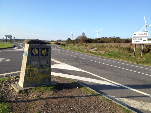 This stone marker is located within a roundabout on a highway.  It is where you choose whether to go to coastal town Muxia (to the right), or Finisterre (to the left).