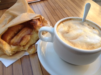 Apple pastry and cafe con leche