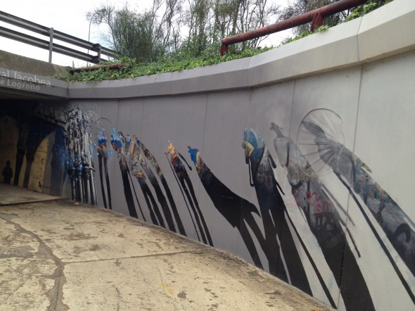 Interesting mural leading into a tunnel