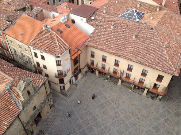 Looking down on the Square and the other Parador (there were 2; I stayed in the other one which cost a little less) from the bell tower.