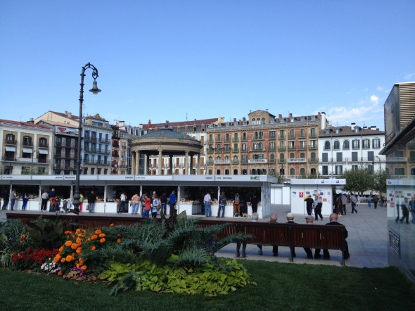 Plaza de Castillo, a main square in Pamplona.  You can see the line of older gentlemen I asked directions from in the bottom right.  After I took this photo, about 5 more joined them and snuggled in!