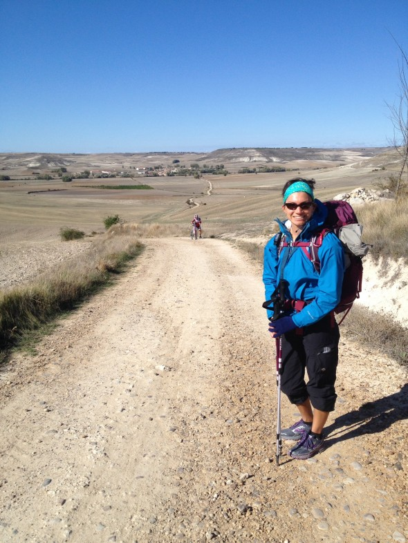 Me with some of the dry Meseta behind me.  It is not as scenic as much of the earler Camino, but has its own arrid beauty and allows for thoughts to come and go as you put one foot in front of the other for miles and miles.