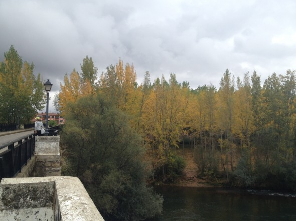 A bridge over a river with beautiful fall trees and a cloudy-sky backdrop.