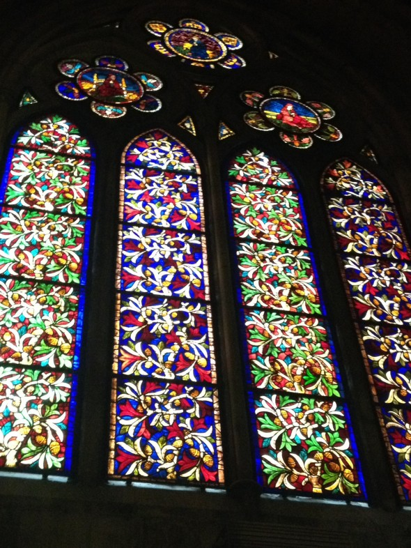 One of the sets of beautiful stained glass, source of light and also compromise to the building so long ago.