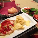"""Many cafes and restaurants offer a """"Pilgrim's Meal"""", 3 courses including dessert, one glass of wine, and bread, usually for about 10 euros.  This was one of the most gourmet Pilgrim's Meals I've seen and it was delicious!"""