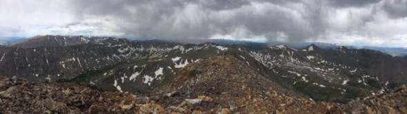 Epic views from Mt Quandary's summit as stormy clouds crept in