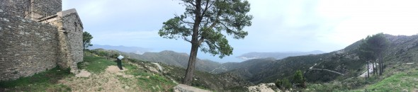 A panoramic view from Santa Creu de Rodes, partway up our climb today