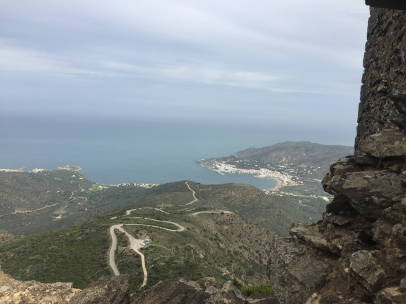 View from the ruins of Castell de Verdera, looking down over Port d la Selva.  It was so worth that extra short rock scramble to get to the very top!  The wind wasn't too bad today, but I bet it can be!