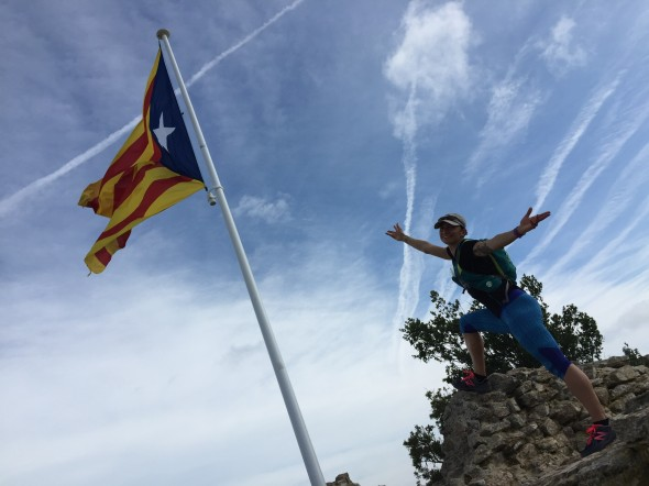 At the top of one of the watchtowers over a range of towns, I appreciate the Catalonia flag!