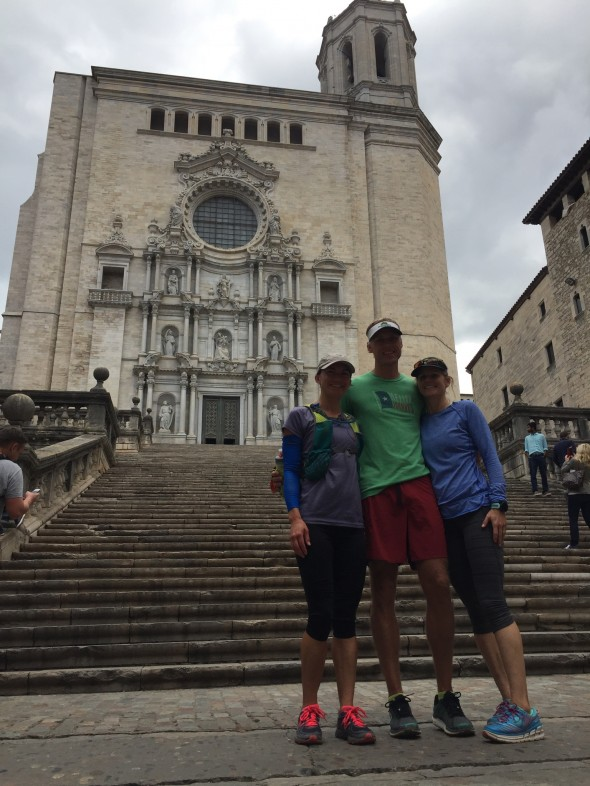Chad and Sally Anderson with me in front of the cathedral in Girona (the one with no interior columns)