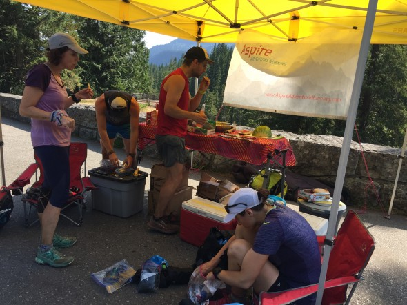 Runners fueling up at the Day 3 Aid Station