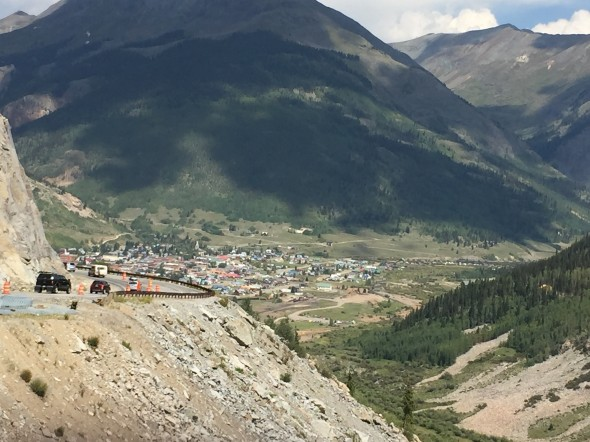 A view from the highway, descending into the tiny mountain town of Silverton