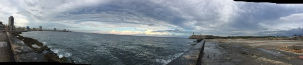 Panoramic view of the sea from El Malecon, seawall