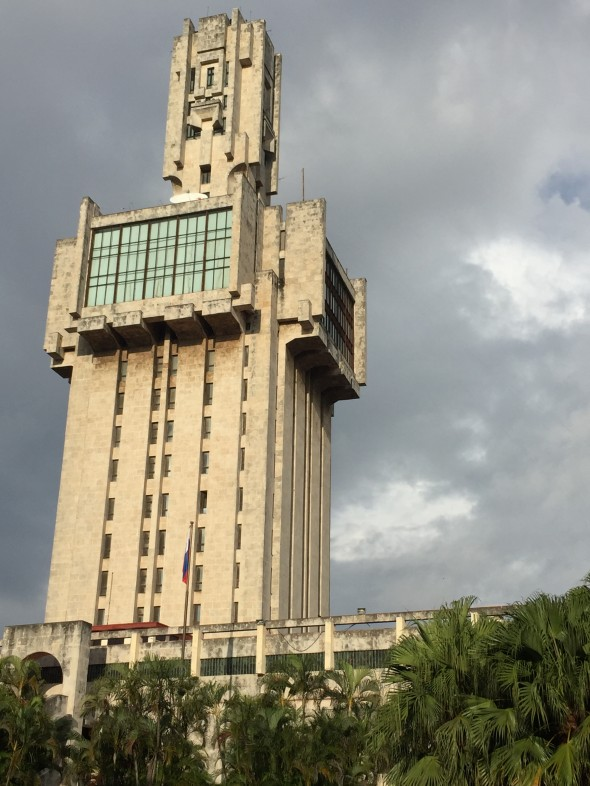 """The Russian Embassy in Havana. Described by locals as a """"la espada de Rusia,"""" meaning """"the Russian sword,"""" the Soviet-era Russian embassy resembles something of a sword stabbing Havana's Embassy Row!"""