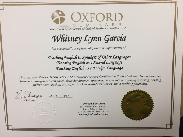 TEFL = Teaching English as a Foreign Language.  This photo shows the first step in my certification.  I also had to do 60 hours online.