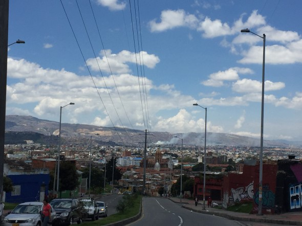 A view from one of the streets in La Calendaria section, near-er the mountains so I could look down over part of the extensive city of Bogota.