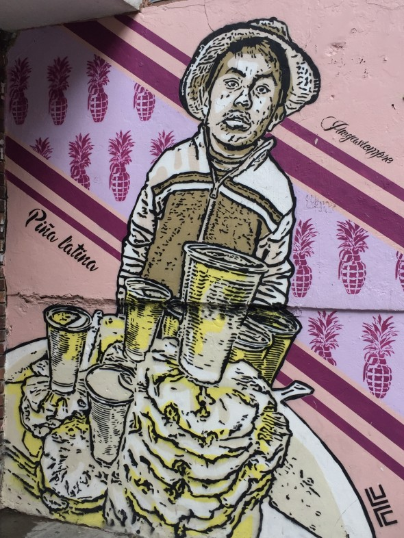 This street-art was one example in the Graffiti Tour I took that depicted the life of street vendors.  Many families need their kids to work; this shows a small child selling pineapple.